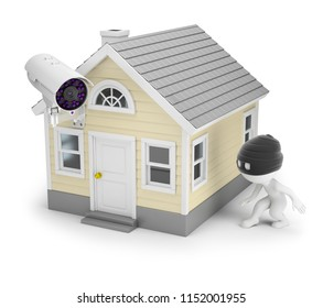 3d small people - the thief sneaks to the house with a surveillance camera. 3d image. White background.