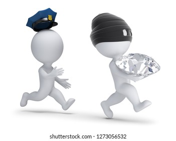 3d small people - thief stole the diamond and runs away from the policeman. 3d image. White background.