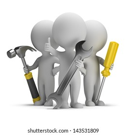 3d small people - three repairman with tools. 3d image. White background.