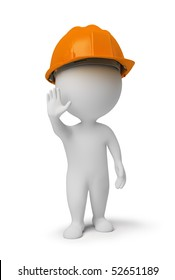 3d small people - worker in a helmet at a stop pose. 3d image. Isolated white background.