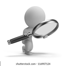 3d small person with a big magnifying glass. 3d image. Isolated white background.