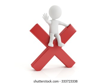 3d small person with big negative symbol in hands. 3d image. White background.
