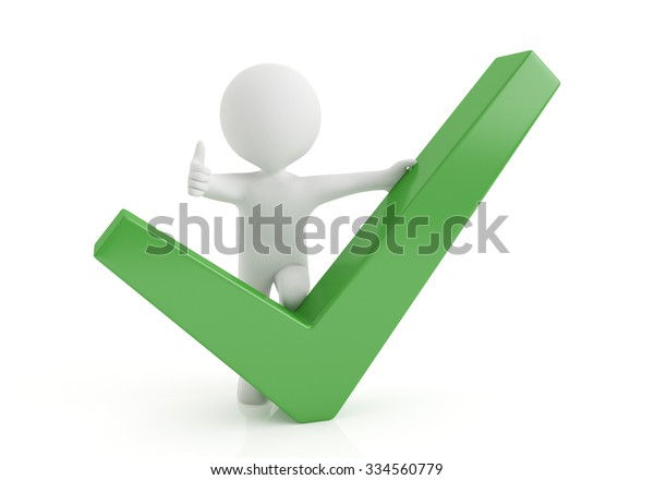 3d small person with big positive symbol in hands. 3d image. White background.