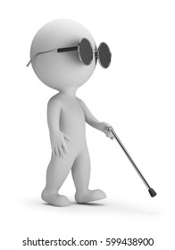 3d small person - blind with a wand. 3d image. White background.