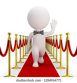 3d small person with a bow tie is walking along the red carpet and waving his hand. 3d image. White background.