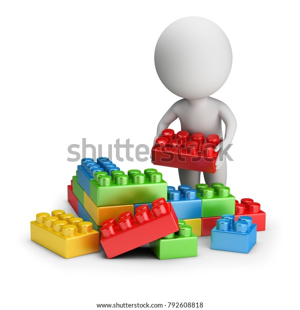 3d small person builds out of toy blocks. 3d image. White background.