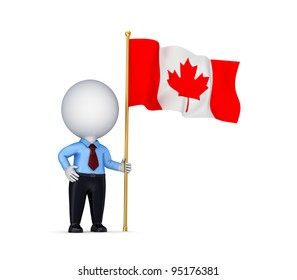 3d small person with canadian flag.Isolated on white background.