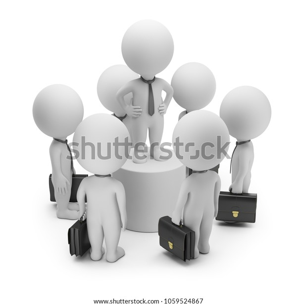 3d small person at the center of a crowd of businessmen talking on a pedestal. 3d image. White background.