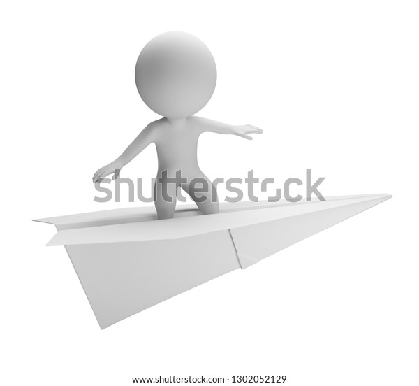 3d small person flying on a paper plane. 3d image. Isolated white background.