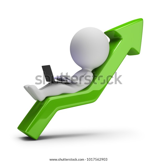 3d small person with laptop lying on green arrow pointing upwards. 3d image. White background.