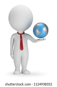 3d small person manager with planet Earth in hand. 3d image. White background.