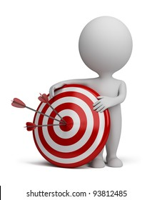 3d small person next to target with three darts stuck in the bull's eye. 3d image. Isolated white background.