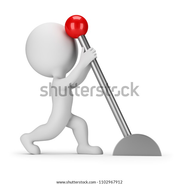 3d small person pulling the lever. 3d image. White background.