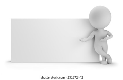 3d small person standing near an empty board. 3d image. White background.