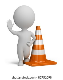 3d small person standing in the warning position next to traffic cone. 3d image. Isolated white background.