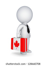 3d small person with suitcase with flag of Canada.