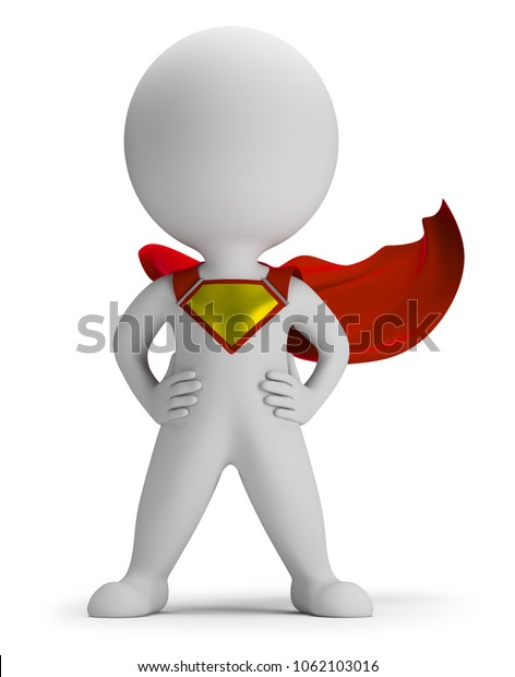3d small person the superhero standing in a confident pose in a raincoat. 3d image. White background.