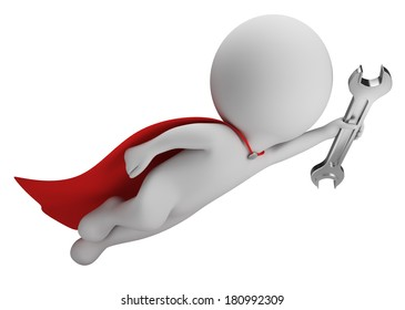 3d small person - superman flying with a wrench in hand. 3d image. White background.