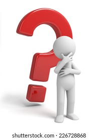 3d small person thinking with a large question mark. 3d image. Isolated white background