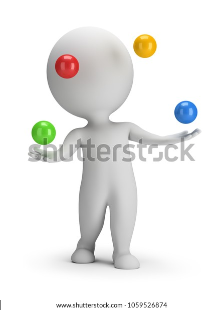 3d small person throws colorful balls. 3d image. White background.