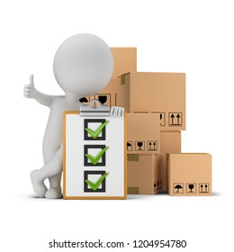 3d small person with a thumb up next to the checklist and cardboard boxes. 3d image. White background.