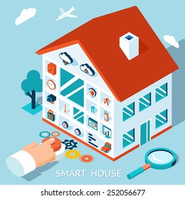 3d smart home concept. House control by pressing button