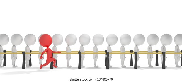 3d smart red man jumps a queue of white people
