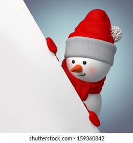 3d smiling snowman, holding blank page corner