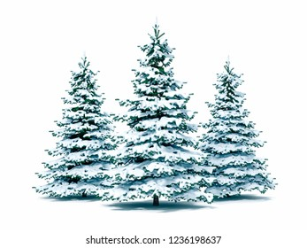 3d snow covered Christmas tree on white background