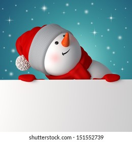 3d snowman looking up and holding blank Christmas banner