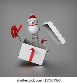3D of snowman mimics Jack in the box by springing out from a gift box to surprises everybody