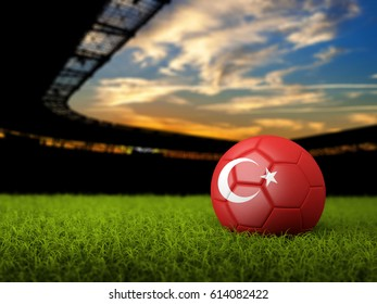 3D Soccer background with Stadium, soccer ball , grass and flag of Turkey