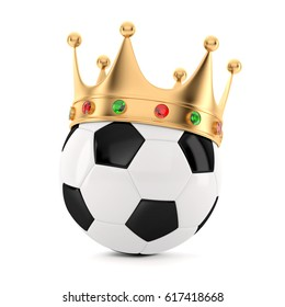 3D Soccer Ball  with Crown. 3D render