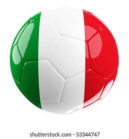 3d soccer ball with flag of italy