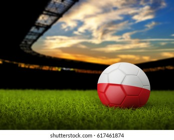 3D Soccer Ball with Flag of Poland on stadium. 3D Rendering
