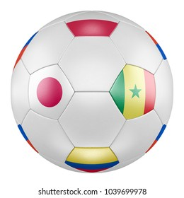 29aef02dedd 3D soccer ball with group H flags of Poland
