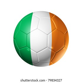 3D soccer ball with Ireland team flag. isolated on white with clipping path