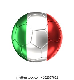 3d soccer ball with italy flag isolated on white