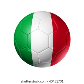 3D soccer ball with Italy team flag, world football cup 2014. isolated on white with clipping path
