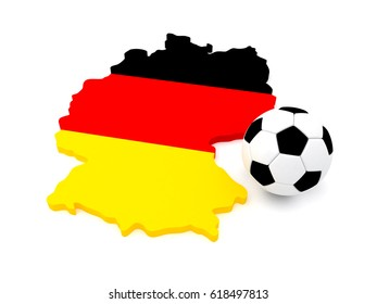 3D Soccer Ball with Map of Germany. 3D Rendering