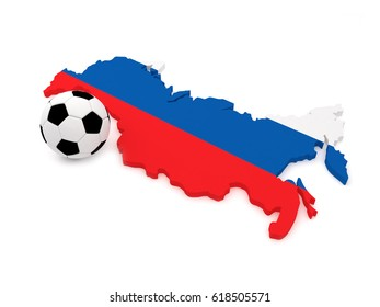 3D Soccer Ball with Map of Russia. 3D Rendering