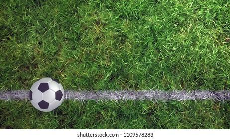 3d soccer ball on grass football field line
