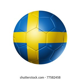 3D soccer ball with Sweden team flag. isolated on white with clipping path