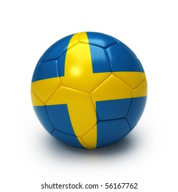 3D soccer ball with Swedish flag isolated on white