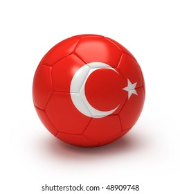 3D soccer ball with Turkeyteam flag, world football cup 2010. Isolated on white with