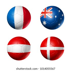 3D soccer balls with group C flags,  isolated on white