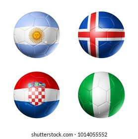 3D soccer balls with group D flags,  isolated on white