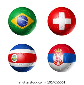 3D soccer balls with group E flags,  isolated on white