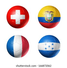3D soccer balls with group E teams flags, Football Brazil 2014. isolated on white