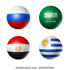 3D soccer balls with group A flags,  isolated on white
